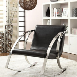 Modern Rocking Accent Chair in Black Vinyl - This chair features curvaceous chrome arms and legs as both rocking construction and bold accent, and wrapped in black leather-like vinyl.