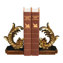 Sterling Industries - Sterling Industries 93-6813 Sterling Pair Of Cresting Vintage Floral Leaf Booken - Bookends Are Another Great Desk Accessory That Help Keep Order While Adding A Decorative Touch To Your Home. This Pair Of Cresting Vintage Floral Leaf Bookends By Sterling Feature An Elegantly Carved Vintage Floral  Leaf That Will Display Very Nicely In A Traditional Room Setting. This Will Be A Welcomed Novelty Gift Item For A Student Or Avid Book Reader And Will Look Great Sitting On A Book Shelf In The Living Room, Bedroom, Home Office Or Library. Each Leaf Is Finished With Gold Paint And Stands On A Brown Base. The Bookends Measure 10 Inches Long X 4 Inches Wide X 8 Inches Tall. Sold As A Pair.  Bookend (2)