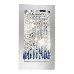 Kolarz - Top quality from Vienna - Kolarz - Top quality from Vienna Charleston Noblesse wall lamp large - Charleston Noblesse wall lamp large is part of a collection of High End light fixtures made in Vienna, Austria by Kolarz. This light series is designed by artistique minds using the finest materials, metal and crystal, beeing a unique creation and fashioned to reflect individual personality and lifestyle. Charleston Noblesse consists of a semirounded frame mounted on the wall from which are cascading gorgeous strings of Swarovski elements in different sizes and shapes and its brightness is emphasized by a square mirror that sits in the back of the lampshade. The fixture is handmade in EU and is available in two versions, the first one with chrome finishes and clear and blue Swarovski crystals and the second in 24k gold finishes with clear and amber Swarovski crystals. Combining its distinctive design with the highest quality of its materials the wall light is a luxury path for both commercial and residential interiors. Illumination is provided by G9, 40W Halogen bulb (not included).      Product Details: Charleston  Noblesse wall lamp large is part of a collection of High End light fixtures made in Vienna, Austria by Kolarz. This light series is designed by artistique minds using the finest materials, metal and crystal, beeing a unique creation and fashioned to reflect individual personality and lifestyle. Charleston Noblesse consists of a semirounded frame   mounted on the wall from which are cascading gorgeous strings of  Swarovski elements in different sizes and shapes and its brightness is emphasized by a square mirror that sits in the back of the lampshade.   The fixture is handmade in EU and is available in two versions, the first one with chrome finishes and clear and blue Swarovski crystals and the second in 24k gold finishes with clear and amber Swarovski crystals. Combining its distinctive design with the highest quality of its materials the wall light