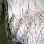 Soft Ruffled Throw, Pink by Shabbyfufu - Get girly with this extra feminine ruffled throw. It would be perfect in a little lady's bedroom atop a gray duvet cover with a white upholstered headboard. It comes at a fantastic price point too.