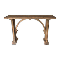 Uttermost - Genessis Reclaimed Wood Console Table - You would never know this gorgeous console table is made of solid reclaimed fir. It has a natural sun-bleached finish and a lightly antiqued gold glaze to make it gleam. You can put it in your living space and know you've gone green and it came out golden!