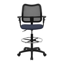Flash Furniture - Mid-Back Mesh Drafting Stool with Navy Blue Fabric Seat and Arms - Drafting stools are useful in environments where you need more height options than a regular task chair can provide. Chair features a breathable mesh back and navy blue fabric seat. The modern design of the back will add a contemporary look to your office space. This drafting stool can be used for multiple purposes in many environments.