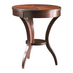 Sherrill Occasional - Sherrill Occasional Round Lamp table 530-930 - Tripod tapered leg base with a mid-shelf and a pie-cut veneered mahogany top.