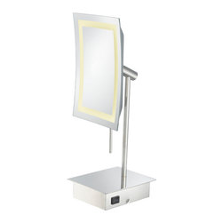 """Single-Sided LED Rectangular Minimalist Vanity Mirror - With its sleek, minimalist look, the Single-Sided LED Rectangular Minimalist Vanity Mirror would be a perfect touch to any bathroom. Its 3x magnification and 6.3"""" x 8.6"""" mirror, is surrounded by a bright, square light that uses only a fraction of the electricity of a comparable incandescent light! Being only 15 ¾"""" tall, it can fit easily onto any counter. Available in three finishes."""
