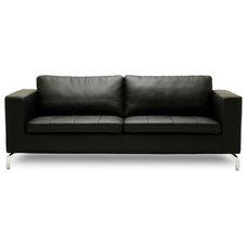 Modern Sofas Greenwich Black Faux Leather 3 Seat Sofa