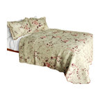 Blancho Bedding - Glam Princess Cotton 3-Piece Vermicelli-Quilted Printed Quilt Set - Set includes a quilt and two quilted shams (one in twin set). Shell and fill are 100% cotton. For convenience, all bedding components are machine washable on cold in the gentle cycle and can be dried on low heat and will last you years. Intricate vermicelli quilting provides a rich surface texture. This vermicelli-quilted quilt set will refresh your bedroom decor instantly, create a cozy and inviting atmosphere and is sure to transform the look of your bedroom or guest room. Dimensions: Full/Queen quilt: 90 inches x 98 inches  Standard sham: 20 inches x 26 inches.