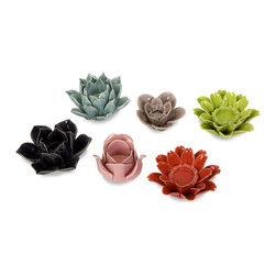 iMax - iMax Leona Assorted Flower Candleholders - Set of 6 X-6-90146 - Cute little flower shape candle holders, a lovely addition to any home, each flower type and color