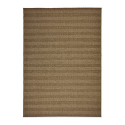 Frontgate - Cabos Stripe Outdoor Area Rug - Machine-woven flat weave rug. Resistant to mold, mildew, driving rain, and heavy foot traffic. Suitable for indoor or outdoor use. Loomed of 100% polypropylene. Flat woven rug is only .20-inch thick. The space-defining texture and warmth of a sisal rug comes outdoors with our Cabos Outdoor Rugs. Available in Solid, Stripe, Chevron or Diamond patterns, the rich honey hue beckons for play while the 100% polypropylene construction retains the tight, flat weave and allows for easy clean-up with a garden hose.  .  .  .  .  . Finished edges add polish . Rug pad recommended outdoors to help with water drainage (sold separately) . Easy to clean; rinse with hose and air dry in the sun; use mild soap for difficult stains . Stripe pattern is created by different weaving variations; colors remain tonal to enhance the look of sisal. Imported.