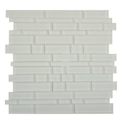 "Glass Tile Oasis - White Random Bricks White Cane Solids Matte Glass - Sheet size:  11 3/4"" x 12 3/4""        Tiles per sheet:  56        Tile thickness:  1/4""        Grout Joints:  1/8""        Sheet Mount:  Mesh Backed or Paper Face     Sold by the sheet    -  These tiles feature fifteen beautiful jewel tone colors finished in either gloss non-iridescent finish or a frosted   matte finish. Random tile sizes are stacked in a repeating pattern for ease of installation. Each sheet comes mesh mounted for ease of installation."