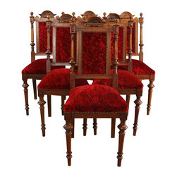 EuroLux Home - 1900 Antique Dining Chair Renaissance Set 6 - Product Details