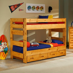 Chelsea Home - Chelsea Home Twin Over Twin Bunk Bed - Cinnamon Multicolor - 3544710-4711 - Shop for Bunk Beds from Hayneedle.com! Make more space for your kids to play with the Chelsea Home Twin Over Twin Bunk Bed - Cinnamon gracing their room. This solid Ponderosa pine bed set has a loft design that doesn't just save space but is fun too. A pair of large drawers is hidden discreetly right under the bed. About Chelsea Home FurnitureProviding home elegance in upholstery products such as recliners stationary upholstery leather and accent furniture including chairs chaises and benches is the most important part of Chelsea Home Furniture's operations. Bringing high quality classic and traditional designs that remain fresh for generations to customers' homes is no burden but a love for hospitality and home beauty. The majority of Chelsea Home Furniture's products are made in the USA while all are sought after throughout the industry and will remain a staple in home furnishings.