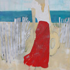 handmade - Plum Island Beach Walk - This wonderful abstract figurative work combines acrylic paint, spray paint, and oil sticks to create a loose piece embracing the beaches of northern Massachusetts. You can almost feel the breeze in the air and smell the salt water in the background. The calm and summery colors are accentuated with her vibrant red skirt.