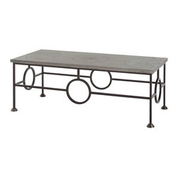 Kathy Kuo Home - Westerly Industrial Zinc Wrapped Iron Coffee Table - We can't decide if this coffee table is more gorgeous from the top or from the side!  With a zinc top detailed with decorative brads, the top is a fantastic example of industrial style done with flair.  The base, however is a visual treat, creating a frame of curved, interconnected crescents of iron.  Eclectic, vintage and industrial spaces will find this a welcome addition.