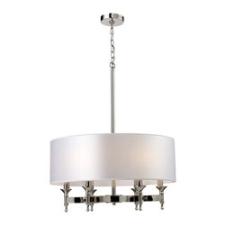 Elk Lighting - Elk Lighting Pembroke 6-Light Chandelier in Polished Nickel - 6-Light Chandelier in Polished Nickel belongs to Pembroke Collection by Unique In Form, The Pembroke Collection Features A Concave Arm Design For A Distinct Appearance. Light Silver Drum Shades And A Polished Nickel Finish Add To The Ambiance.