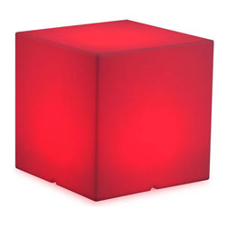 Zuo - Large Lumen Cube Stool - Keep your seat.  The Large Lumen Cube Stool is great for impromptu seating for your outdoor space.  Use it as an ottoman or side table when the demand is there.  The durable construction of the conversation piece is perfect for outdoor use, but can be used inside as well.  Use the remote control (included) to set a continuous color or set it to multicolor mode at the speed you want.  Relax on your own or with guests as you watch the colors fade.