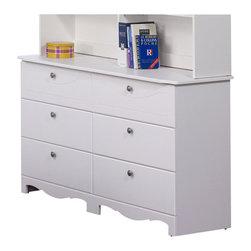 Nexera - Nexera Pixel 6-Drawer Double Dresser in White - Nexera - Kids Dressers - 310603