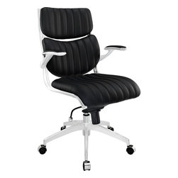 Modway - Escape Midback Office Chair, Black - The mid backed modern style of Jaunt creates a focused synergy that turns all eyes on you. Every task that comes your way, will be handled with confidence, from the leatherette cushioned comfort of office luxury. Padded armrests, and the sleek sheen of the five dual-caster base, complete Jaunt's stunning design.