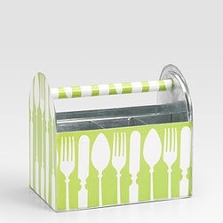 Flatware Tote-Along - Flatware totes are wonderful for picnics and for parties on the deck, porch or patio.  They are also great ways to make the flatware easily available to guests at a buffet table.  This tote sings out spring in its bright green and white color scheme.