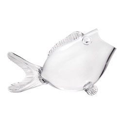 """Home Essentials - Clear Glass Fish Shaped Bowl - This whimsical glass bowl is a charming addition to your home, whether as a new abode for your own Nemo or as a unique candy jar filled with jelly fish, your guests will grin every time they help themselves. Versatility and value are all wrapped up in this fish designed bowl, it is an instant winner that creates great ambiance and atmosphere for any environment and is truly a great conversational piece and gift idea for family and friends of all ages.      * Dimensions: 14""""L x 8""""W x 10""""H"""