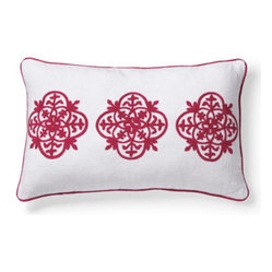 Grandin Road - Grenada Lumbar Pillow - Colorful crewelwork throw pillows. Finely ribbed, 100% cotton covers. Embellished with coordinated corded trim. Hidden zipper for easy removal. Polyfill insert included. Capture the cheerful, tropical energy of bright blue or hot pink embellished pillows with nautical crewelwork. Lumbar pillow is covered in white with three smaller medallions embroidered in Baltic Blue or Pink.  .  .  .  .  . Spot clean . Pillow has a white ground with crewelwork and cording in Baltic Blue or Pink. Imported.
