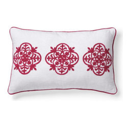 Grandin Road - Grenada Lumbar Pillow - Colorful crewelwork throw pillows. Finely ribbed, 100% cotton covers. Embellished with coordinated corded trim. Hidden zipper for easy removal. Polyfill insert included. Capture the cheerful, tropical energy of bright blue or hot pink embellished pillows with nautical crewelwork. Lumbar pillow is covered in white with three smaller medallions embroidered in Baltic Blue or Pink.  .  .  .  .  . Spot clean . Pillow has a white ground with crewelwork and cording in Baltic Blue or Pink. Pillow inserts are vacuum packed to minimize shipping costs – simply fluff to restore shape . Imported.