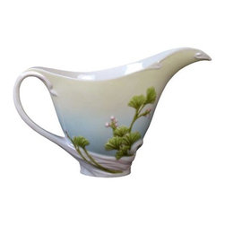 US - 7.5 Inch Blue and White Glazed Porcelain Pink Ginkgo Cream Pitcher - This gorgeous 7.5 inch blue and white glazed porcelain pink ginkgo cream pitcher has the finest details and highest quality you will find anywhere! 7.5 inch blue and white glazed porcelain pink ginkgo cream pitcher is truly remarkable.