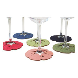 Dimlim - Stemware Coasters Mandarin, Blossom, Regular/White Wine - A set of 6 stemware coasters that wrap around the bottom of wine glasses and serve as a tag as well as coasters, to identify your guests drink and protect furniture from liquid damage.