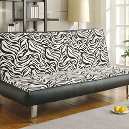Coaster - 300230 Zebra Chenille Sofa Bed - Bring a modern boldness and a wild side to your living room with this zebra pattern sofa bed collection. Sit down on the pure comfort of chenille fabric while being supported by chrome finished legs.