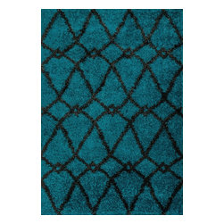 """Loloi Rugs - Loloi Rugs Cosma Collection - Blue / Charcoal, 5'-2"""" x 7'-7"""" - A room with a point of view; that's what you get with the Cosma Collection. Power-loomed in Egypt of polypropylene and polyester, Cosma's shaggy stripes, diamond and other intricate patterns come alive with energetic movement, and buzz with vivid colors. Your home will, too."""