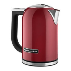 KitchenAid KEK1722ER 1.7 Liter Electric Kettle with LED Display - Empire Red - Boil water quickly and quietly with the KitchenAid KEK1722ER 1.7 Liter Electric Kettle with LED Display - Empire Red. Able to boil up to 1.7 liters of water for multiple servings, this electric kettle features a dual wall construction which keeps your water hot longer but also keeps the outside cool to the touch. Featuring a variable temperature control, you can choose to boil your water anywhere from 50 degrees Celsius to 100 degrees Celsius. Perfect for making a hot cup of tea in the mornings, or mixing up some hot chocolate for the kids after a day of playing outside in the snow, this kettle is a beautiful and practical addition to any kitchen.About KitchenAidFor over 80 years, KitchenAid has been devoted to creating innovative cookware that inspires culinary excellence. From the original Stand Mixer first created in Troy, Ohio, this industry leader now offers a wide assortment of cookware, bakeware, kitchen accessories, and appliances. All products are designed with your cooking needs in mind and are engineered to exceed the highest manufacturing standards. Since 1919, KitchenAid has been synonymous with quality and value. As a result, all KitchenAid products are backed by exceptional, industry-leading warranties. Check out the complete line today.
