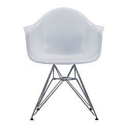 "IFN Modern - Eames Style DAR Chair - Glossy White - Overall Dimensions: 34.6"" H x 23.6\"" W x 19.3\"" DDurable fiberglass seat I Chrome R-wire base"