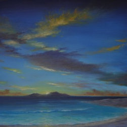 "Original Tropical Seascape (Caribbean Sunset) - Caribbean Sunset is a 24""x48"" tropical, Caribbean seascape oil painting on gallery wrap canvas and ready to hang."