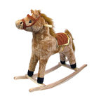 Happy Trails - Horse Plush Rocking Horse - Wooden Rocker - Recommended Weight Limit: 80 lbs.. Ages: 2 years and up. Color: Brown. 11 in. L x 28.5 in. W x 26 in. H (6 lbs.)