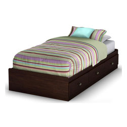 South Shore - Willow Twin Mates Bed in Havana Finish - Manufactured from eco-friendly, EPP-compliant laminated particle boardcarrying the Forest Stewardship Council (FSC) certification. Bed foam and sheets not included. Mates bed features 3 large and practical drawers. Metal handles with a gold nickel finish . Manufactured from engineered wood products. 5-Year manufacturer's warranty. Assembly required. 76.34 in. L x 40.35 in. W x 13.8 in. HMake the most of your available space with this practical twin 39 in. mate's bed in a rich Havana finish. It features three drawers underneath the bed for storing clothing, toys and other items. No box spring required.