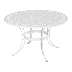 "Home Styles - Home Styles Biscayne 5PC 42"" Dining Table Set - Home Styles - Patio Dining Sets - 5552308C - Home Styles Biscayne 5PC Set includes 42 inch Round Outdoor Dining Table and Four Arm Chairs with Sunbrella  Green Apple fabric Cushions. Set is constructed of cast aluminum with a White finish. Features include powder coat finish sealed with a clear coat to protect finish attractively patterned table top has center opening to accommodate umbrellas and nylon glides on all legs. Table Size:  42w 42d 29h Chair Size:  22.83w 21.65d 32.68h.  Seat height 15.5h.  Stainless steel hardware."