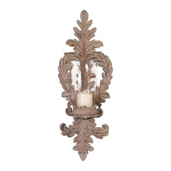 Old World Ornate Ceramic Wall Sconce with Glass Candleholder