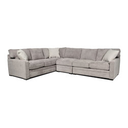 Axis 3 Piece Sectional - Wrapped in a smooth, light gray-hued fabric, the Axis sectional has a soft contemporary vibe, allowing it to accommodate an array of interiors that require ample seating and sophisticated styling. The narrow track arms, welted seams and dotted white accent pillows refine the design, while plush cushions make the cut for comfort.
