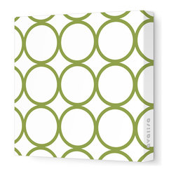 "Avalisa - Pattern - Circles Stretched Wall Art, 12"" x 12"", Grass - Sleek, clean, uncomplicated — if that's your style, this is your art statement. The circles motif on unframed stretched fabric is pure and simply you!"