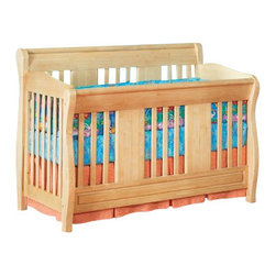 Atlantic Furniture - Atlantic Furniture Versailles Convertible Crib in a Natural Maple Finish - Atlantic Furniture - Cribs - J98205 - Designed to adapt to the needs of a growing child Atlantic cribs convert from a crib to a day bed and then a full size bed. All cribs are manufactured with solid Eco-Friendly hardwood. Steel fasteners and solid hardwood construction exceeds industry standards for safety. Mortise and tennon side panel construction provides unsurpassed strength and durability. Our five step finishing process is non-toxic and lead free. Each crib has a 5 position adjustable mattress support system and converts to a full size bed with the addition of a bolt on metal bed frame.