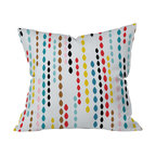 DENY Designs - Khristian A Howell Nolita Drops Throw Pillow, 18x18x5 - What could be fresher than adding this pillow to your sofa, bed or bench? Marquise-shaped drops printed in crayon colors float in bands across the pure, go-with-anything white woven polyester. You won't want to toss this pillow; you'll want to hold it tight.