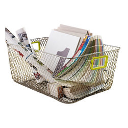 Design Ideas - Net Mesh Storage Basket, Green Handle, Large - Meet the Net. Cool wire storage baskets, accented with green silicone handles. Store towels, cleaning supplies, hangers, balls, water bottles or odds and ends in the garage.