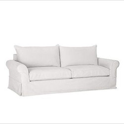 """PB Comfort Roll-Arm Slipcovered Sofa, Down-Blend Wrap Cushions, Textured Basketw - Sink into this sofa just once, and you'll know how it got its name. Designed with extra-deep seats and three layers of thick padding on the arms and back, this eco-friendly collection invites a whole family to relax together. 83.5"""" w x 40"""" d x 37"""" h {{link path='pages/popups/PB-FG-Comfort-Roll-Arm-4.html' class='popup' width='720' height='800'}}View the dimension diagram for more information{{/link}}. {{link path='pages/popups/PB-FG-Comfort-Roll-Arm-6.html' class='popup' width='720' height='800'}}The fit & measuring guide should be read prior to placing your order{{/link}}. Choose polyester wrapped cushions for a tailored and neat look, or down-blend for a casual and relaxed look. Choice of knife-edged or box-style back cushions. Proudly made in America, {{link path='/stylehouse/videos/videos/pbq_v36_rel.html?cm_sp=Video_PIP-_-PBQUALITY-_-SUTTER_STREET' class='popup' width='950' height='300'}}view video{{/link}}. For shipping and return information, click on the shipping tab. When making your selection, see the Quick Ship and Special Order fabrics below. {{link path='pages/popups/PB-FG-Comfort-Roll-Arm-7.html' class='popup' width='720' height='800'}} Additional fabrics not shown below can be seen here{{/link}}. Please call 1.888.779.5176 to place your order for these additional fabrics."""