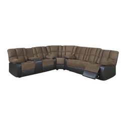 "AC Pacific - 3 pc David two tone Mocha microfiber and dark brown leather like sectional - 3 pc David two tone Mocha microfiber and dark brown leather like sectional sofa with recliners and center console. This set features the sofa with recliners on both ends and love seat with recliners on both ends and a center console with cup holders. sofa measures 80"" x 38"" x 39"" H. love seat measures 72"" x 38"" x 39"" H. Corner wedge measures 62"" x 38"" x 39"" H. Some assembly required."