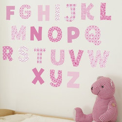 FunToSee - Nursery Alphabet Wall Decals Pink - 100% Vinyl