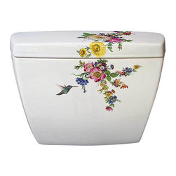 Hand Painted Toilets - Add a splash of color to the bathroom toilet with this Dresden style floral painted on it. Tulips, poppies, roses, daisies, violets, chrysanthemums, iris, morning glory, cornflowers and a hummingbird. Coordinates with the Scented Garden rrop-in basin. decoratedbathroom.com