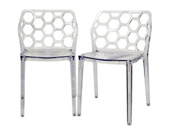 Baxton Studio - Baxton Studio Honeycomb Clear Acrylic Modern Dining Chair (Set of 2) - Bees and geometry love the shape of a hexagon -jump on the bandwagon and add the Honeycomb Chair to your dining room, business, or restaurant! This attractive organic shape makes a starring appearance in the contemporary design of this clear acrylic chair. The chairs are conveniently stackable, making them ideal for apartments or when storage is a priority. Because they are made from a single mold, the Honeycomb Chairs are strong and sturdy. Each chair is finished with plastic non-marking feet and is fully assembled. This chair is also available in transparent red Lucite (sold separately).