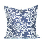 Majestic Home - Outdoor Navy Blue French Quarter Large Pillow - Style and comfort are just as important for casual spaces like the patio or den as they are anywhere else, so you need a throw pillow that's made to take the slings and arrows of everyday life. This pillow's cute printed cover is treated to withstand the elements and removable for easy cleaning of spills and smudges. It'll add some color and cushiness to your family parties and still look fresh the morning after.