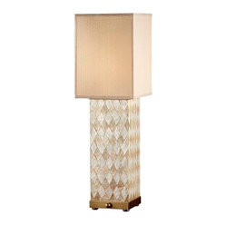 Harlequin Pattern Natural Shell / Dark Coffee Bron Lamp