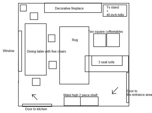 Furniture arrangement in a square living room for Square room furniture placement