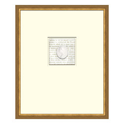 Soicher-Marin - Script with Intaglio D - Giclee Print/Intaglio with a mid century modern antique distressed bronze wood frame with fly speckle antique with a gold key line around image on a brown/tan mat. Includes Glass, eyes and wire. Made in the USA. Wipe down with damp cloth